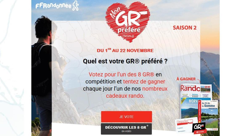 """JEU CONCOURS : Votez pour le """" GR préféré des Français"""" 2019 !"""